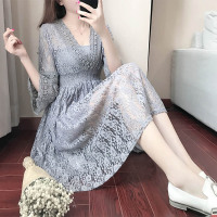 2017 Spring Summer Grey Pink Lace Dress Women Deep V Neck Flare Sleeve Sexy Beach Dress