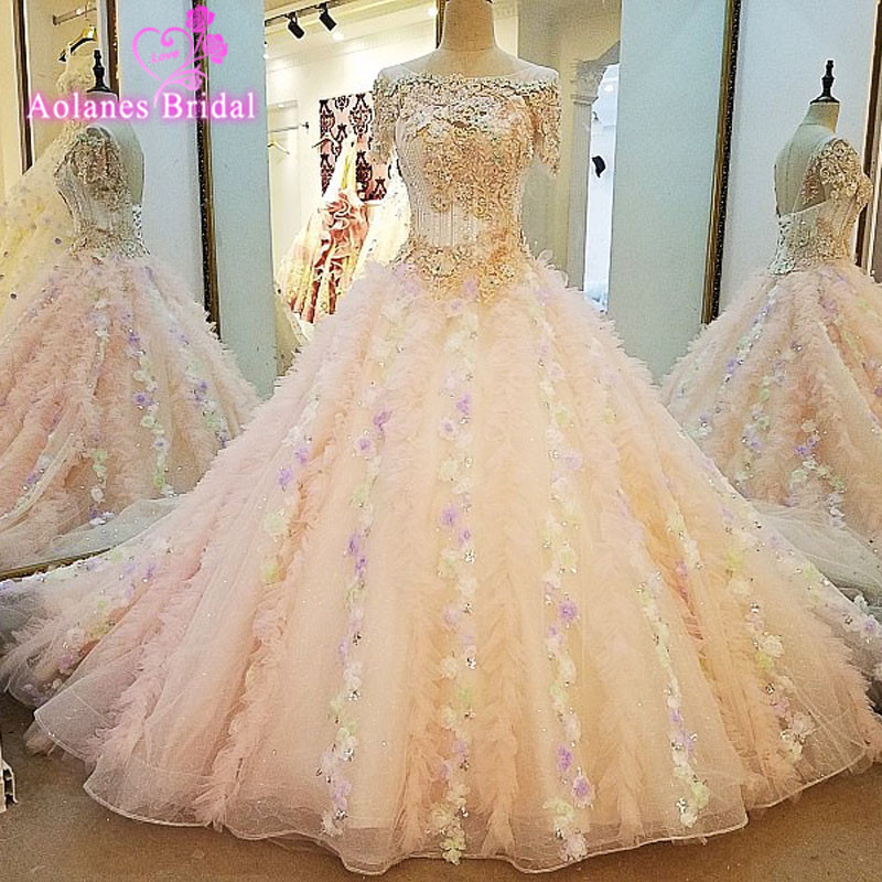Elegant Vestido De Novia Vintage Pink Ball Gown Wedding Dress Sleeveless Robe De Mariage Princesse Bridal Gown 2017 New Design