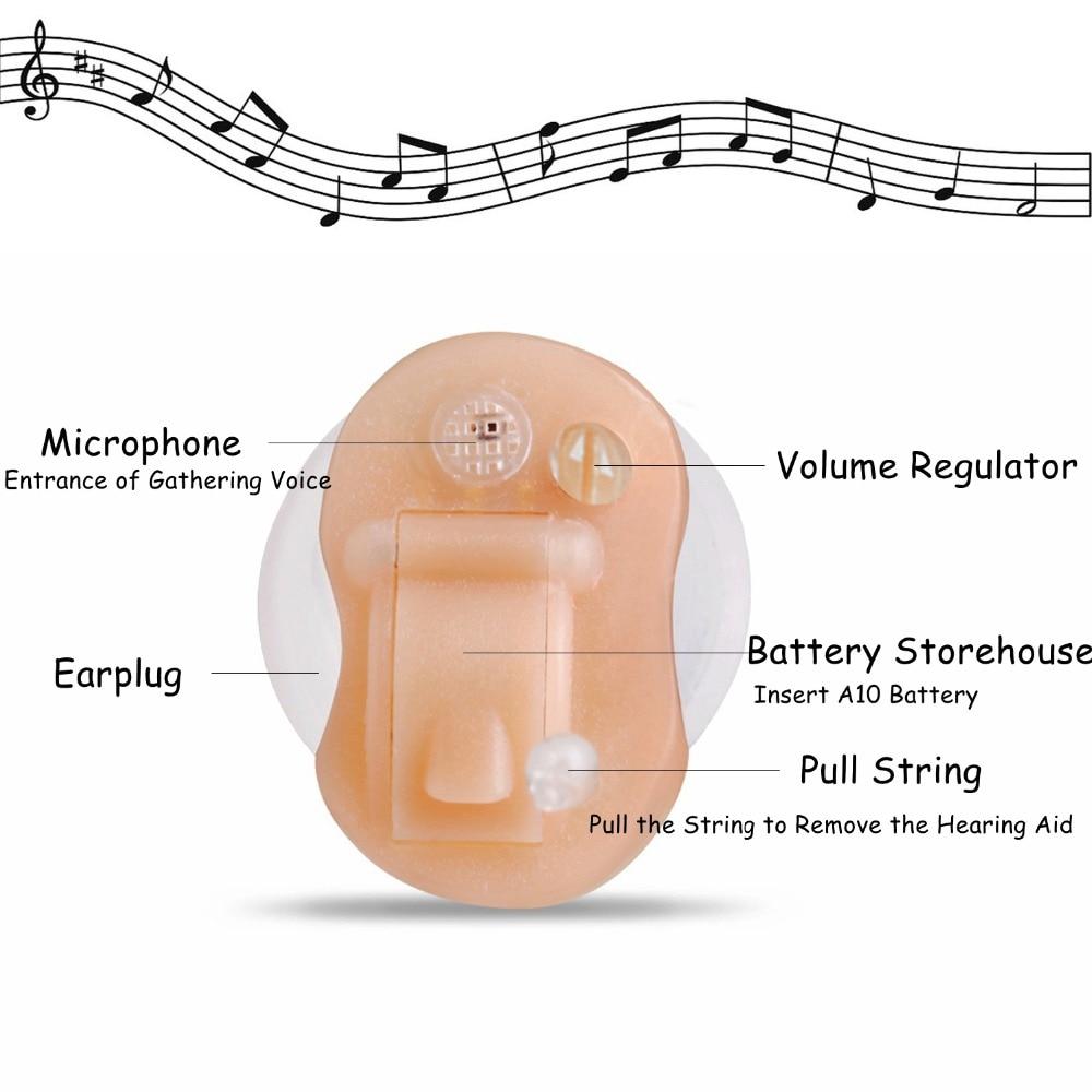 2PCS NEW CE FDA Small Iner Ear Osynligt hörselhjälpmedel CIC Mini - Sjukvård - Foto 3