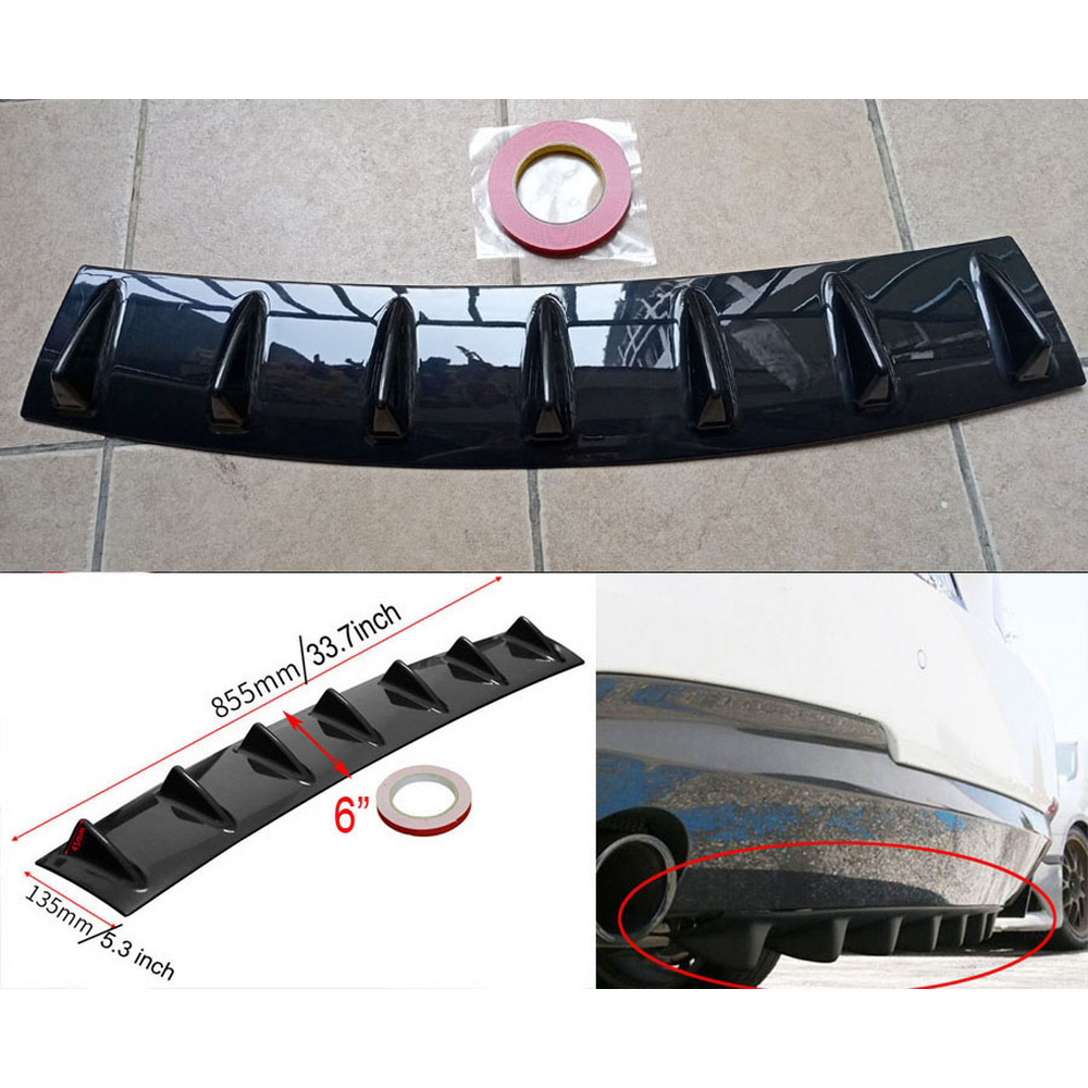 Car Rear Bumper Spoiler Universal ABS Rear Bumper Wing Lip Diffuser Shark Fin Splitter Fits Most Vehicles