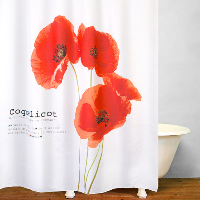 3D printing polyester waterproof shower curtain red poppy flower ...