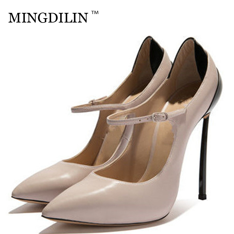 MINGDILIN Sexy Women's Mary Janes High Heels Shoes Plus Size 33 43 Pointed Toe Party Woman Heel Shoes Pumps Apricot Stiletto mingdilin sexy women s heel shoes high heels shoes woman pumps plus size 33 43 pointed toe ping red wedding party pumps stiletto