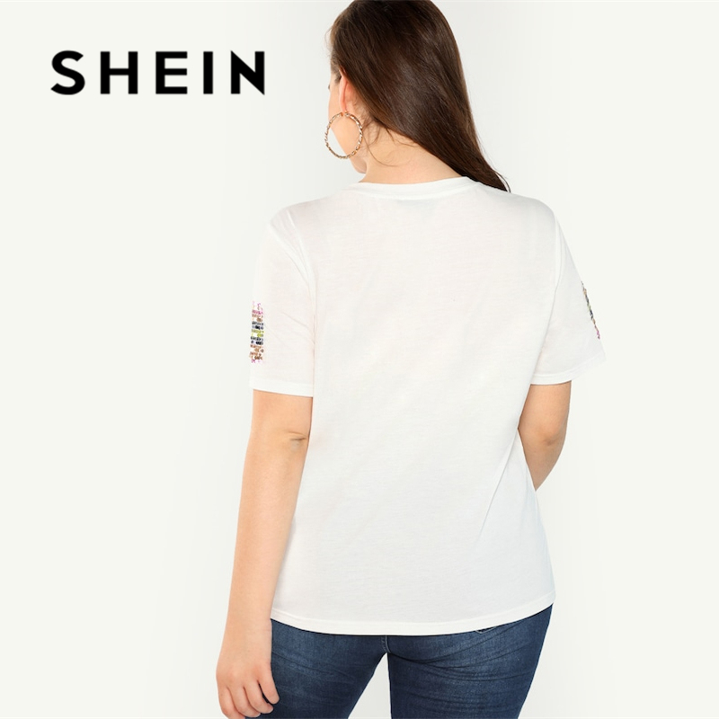 SHEIN Plus Contrast Sequin Striped Short Sleeve Round Neck Tee 2018 Stretchy Autumn Highstreet Weekend Casual T-shirt 2