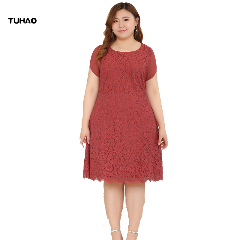 TUHAO Office Lady Floral Crochet Hollow Out Dresses Large Sizes 10XL 8XL 6XL red Lace Vintage