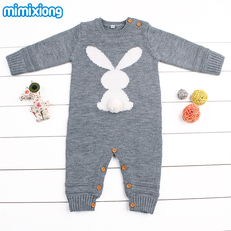 9dc66aa2b Rabbit Knitted Bunny Rompers for Newborns Jumpsuits Infant Bebes Boy ...