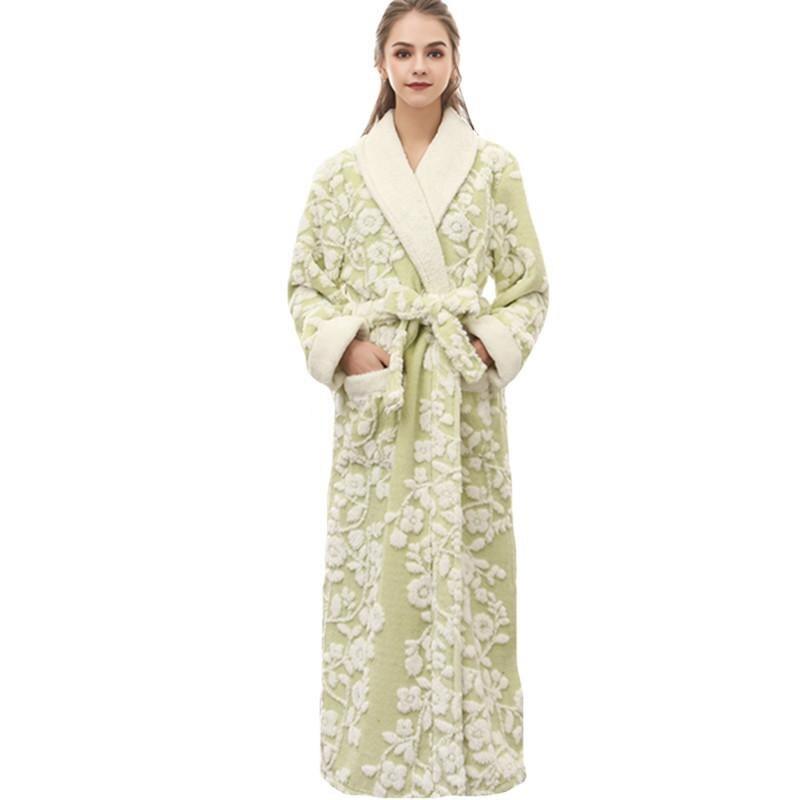 Floral Sexy femmes Kimono Robe de bain Jacquard longue Robe hiver chaud vêtements de nuit chemise décontracté flanelle chemise de nuit - 2