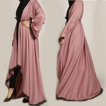 夕暮れピンク着物レースアバヤイスラム教徒女性長袖女性アパレルマキシローブヒジャーブチュニック Jubah ラマダンアラブイスラム服
