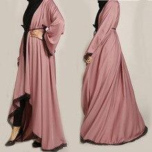 Zmierzch różowy Kimono koronki Abaya muzułmańskie kobiety z długim rękawem kobiet odzież Maxi szaty hidżab tunika Jubah Ramadan emiraty islamska odzież