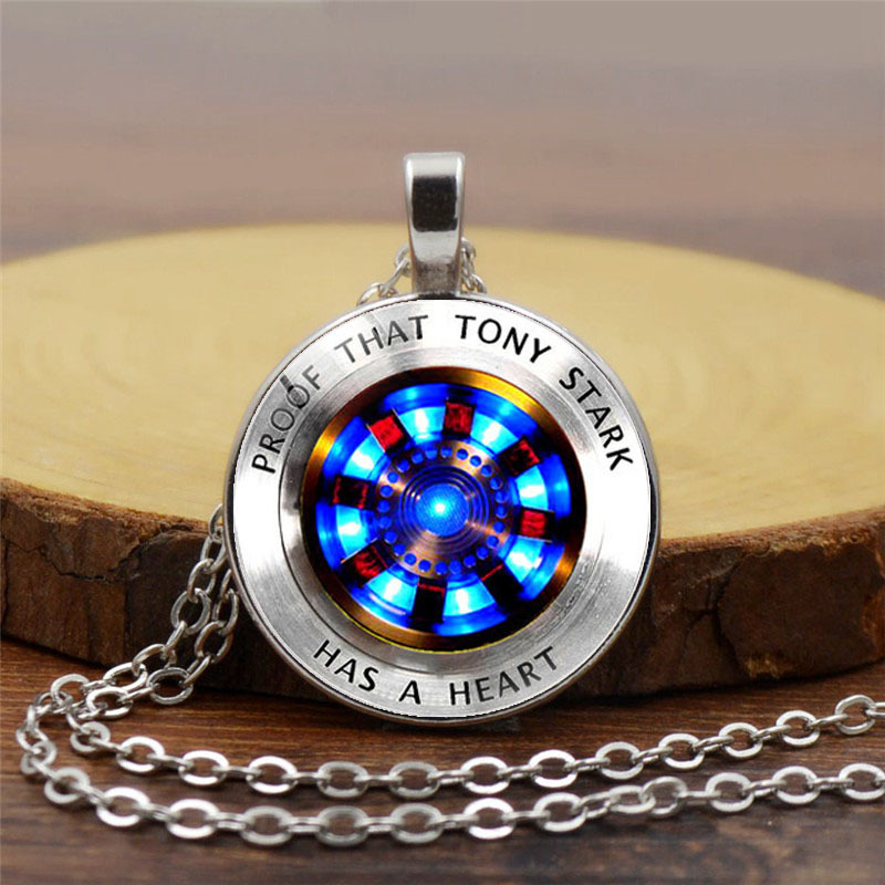 2019 Avengers Endgame Iron Man Cosplay Accessories Tony Stark Armor Weapons Heart Time Gem Necklace Pendant Toy Decoration