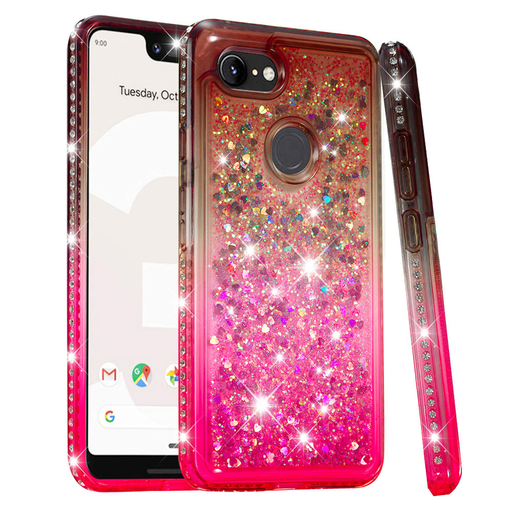 Quicksand Glitter Case For Google Pixel 3 XL Soft TPU Bumper Cushion Reinforced Corners Protective Liquid Girls Women Case Cover