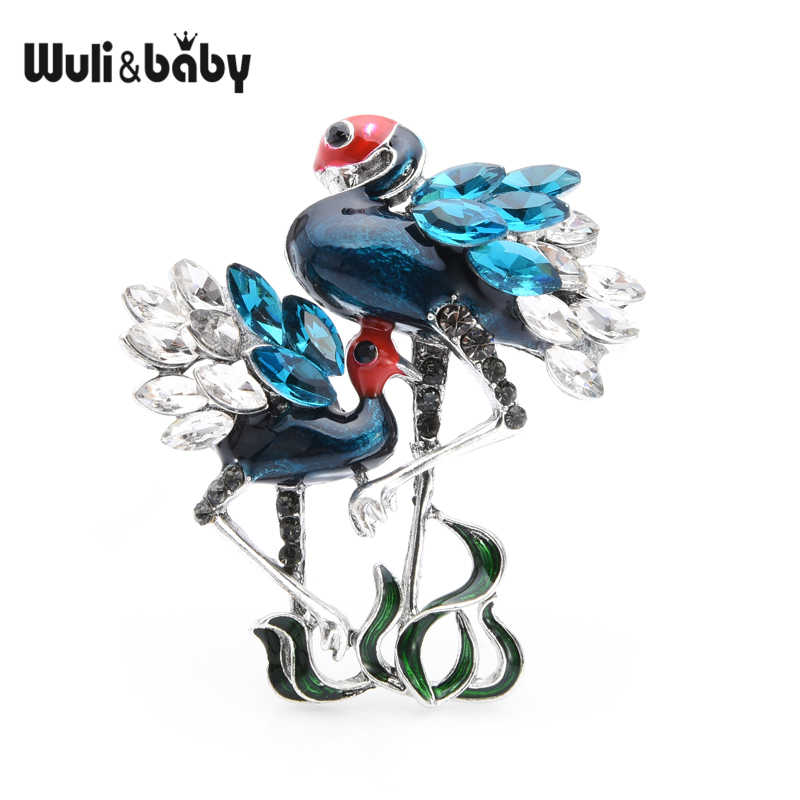Wuli Bayi Hijau Biru Dua Flamingo Burung Bros Wanita Pria Rhinestone Enamel Hewan Bros Pin Ibu Hadiah