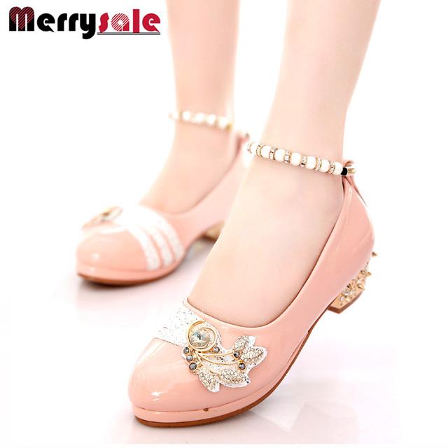 Primavera 2017 pérola com diamante saltos shoes shoes em nome de um doce princesa
