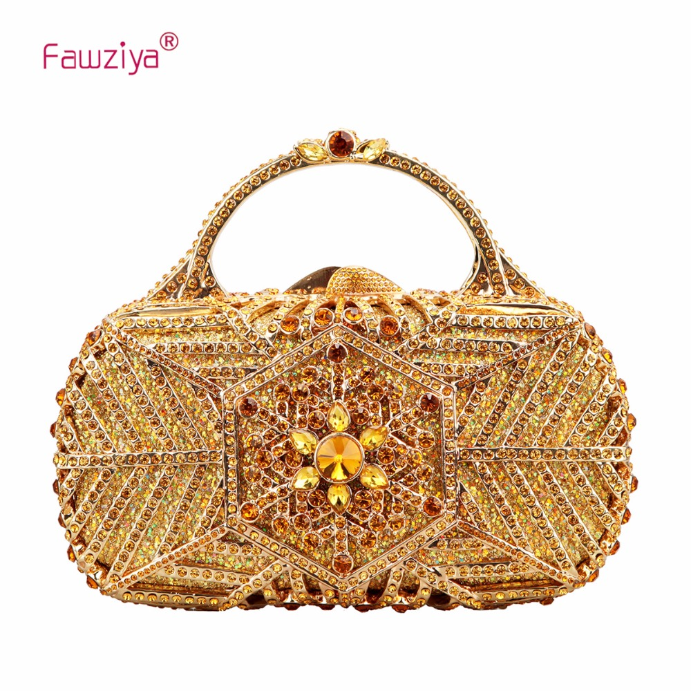 Fawziya Snowflake Metal Handle Handbag for Women Clutch Purse Party Clutches vintage bronze tone metal arch frame kiss clasp lock handle clutch fit coins purse handbag making 20cm