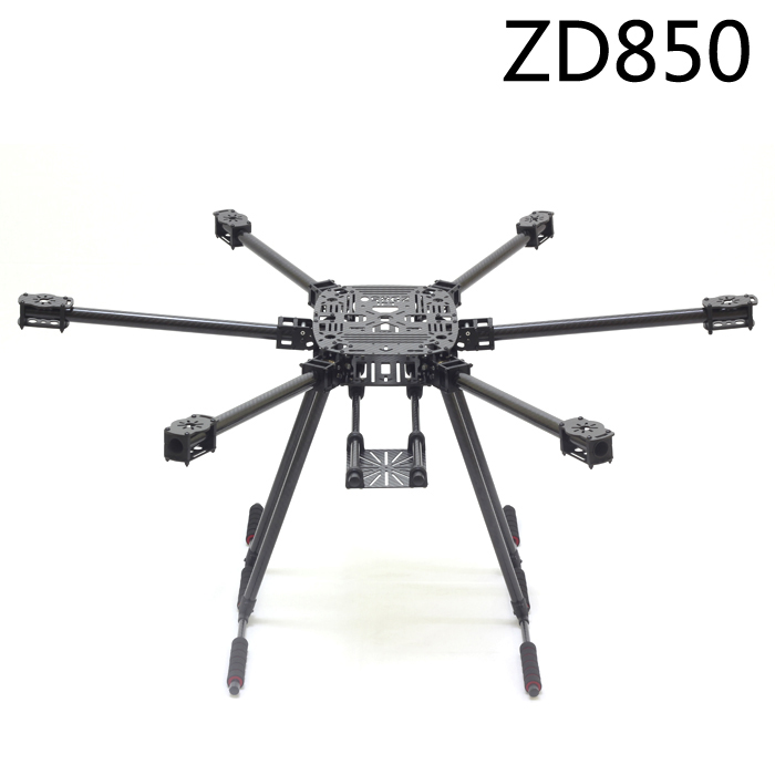ZD850 Full Carbon Fiber ZD 850 Hexa-Rotor Frame Foldable Arm Hexacopter Frame Kit with Unflodable Landing Gear for FPV zd850 full carbon fiber frame kit with unflodable landing gear foldable arm 6 axle hub set for diy fpv aircraft hexacopter