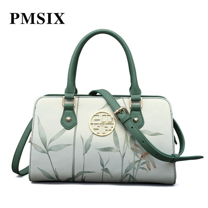 PMSIX casual Vintage Floral Printing clutch bag Large capacity Hard luxurious ladies bags casual floral
