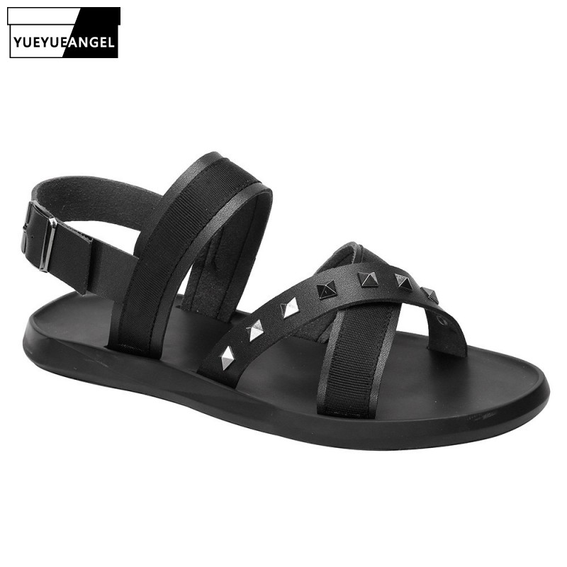 Summer New Mens Beach Sandals Rivets Cross Straps Buckle Flats Casual Outside Sandals Streetwear Gladiator Leather Sandals Shoes(China)