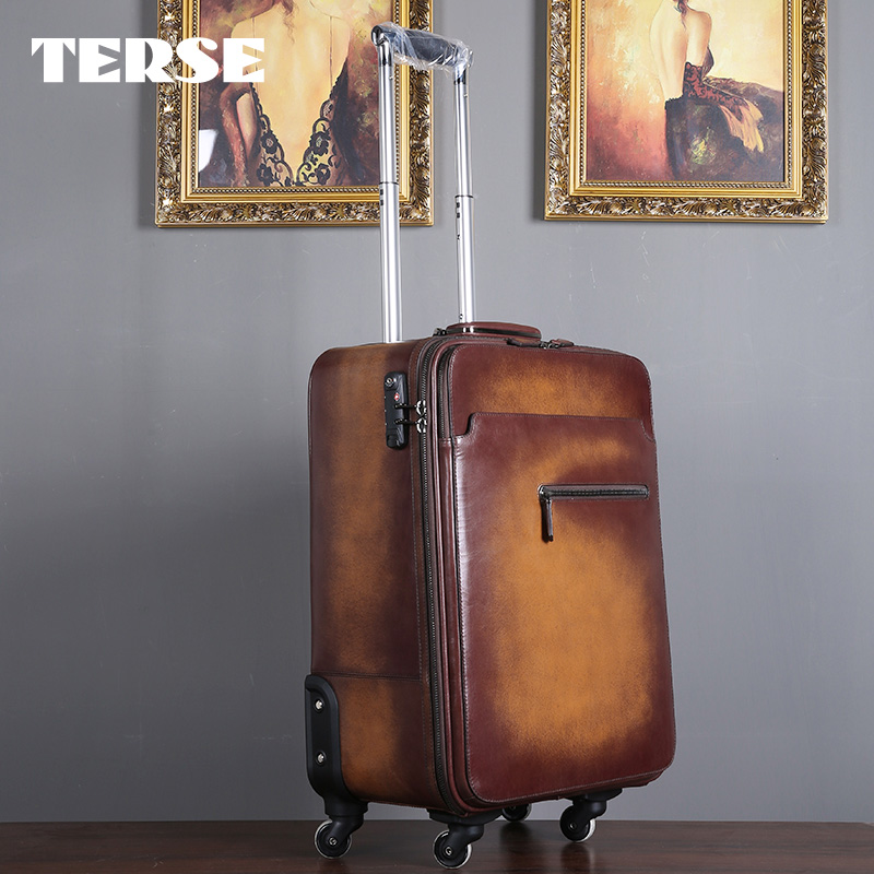 TERSE_2017 New Release Leather Luggage Handmade Genuine Leather Trolley Case In Tobacco/ Burgundy Bag Case Custom Service LN020