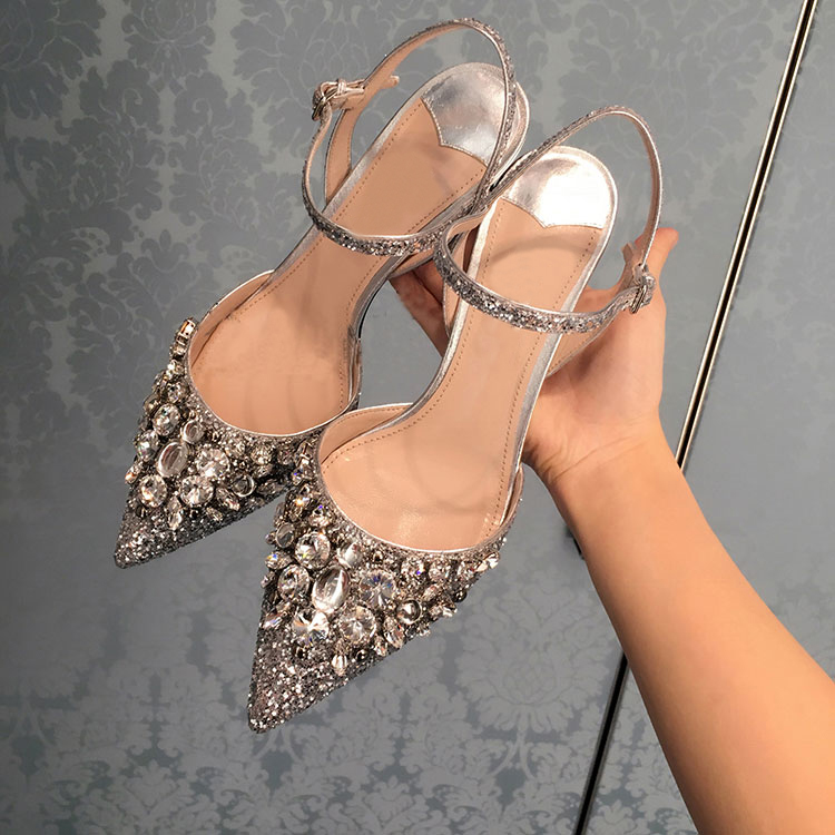 Summer Pointed Toe Crystal Embellished High Heel Ankle Strap Sandals Wedding Party Dress Shoes Women wholesale drop shipping wholesale lttl new spring summer high heels shoes stiletto heel flock pointed toe sandals fashion ankle straps women party shoes