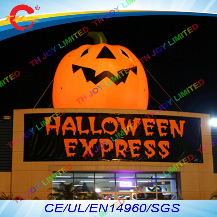 free air shipping to door165ft5m halloween decoration giant outdoor inflatable roof pumpkin with led light - Outdoor Inflatable Halloween Decorations