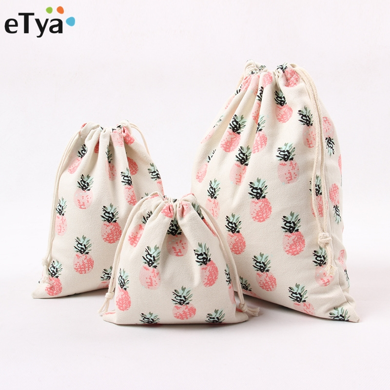 Cotton Drawstring Bag Fruit Pineapple Women Travel Draw String Pouch Eco Friendly Shopping Storage Case color block panel pouch design string t back