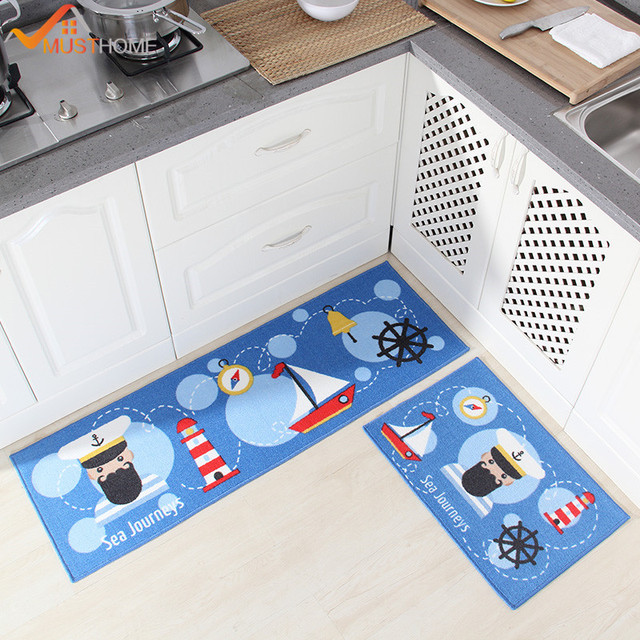 Blue Kitchen Rugs Stainless Steel Garbage Can 2 Piece Mats For Floor Modern Cartoon Set 40 60cm 120cm