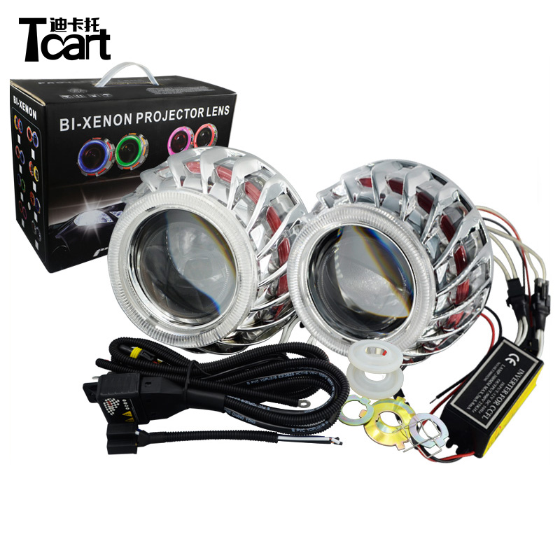 Tcart F2 Circular /Round Double Angel Eyes bi -xenon hid conversion kit Projector Lens Light For Auto Headlights tcart double color square prismatic double angel eyes bi xenon projector lens light for auto car headlights