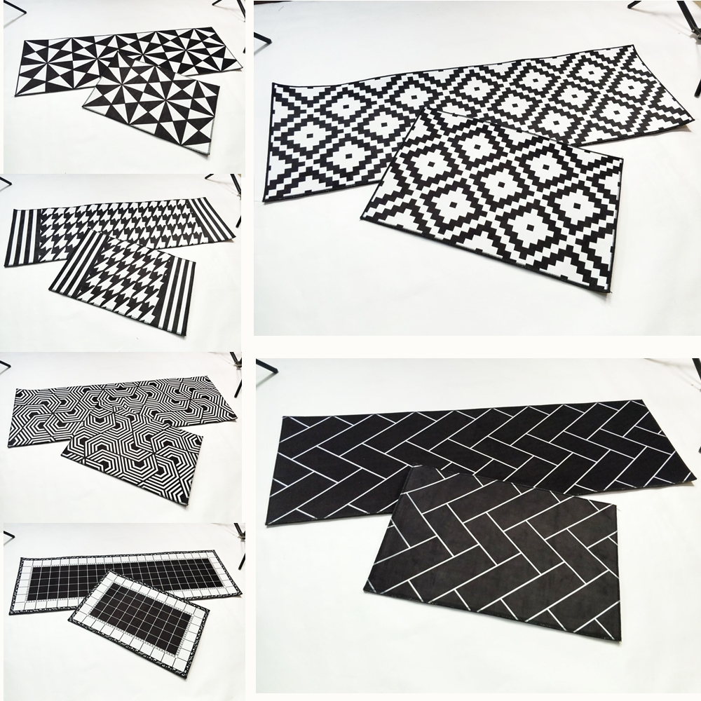RAYUAN Nordic Style Flannel Black and White Geometric Kitchen Floor Mats Door Mat Long Carpets Anti-slip Doormat Area Rug