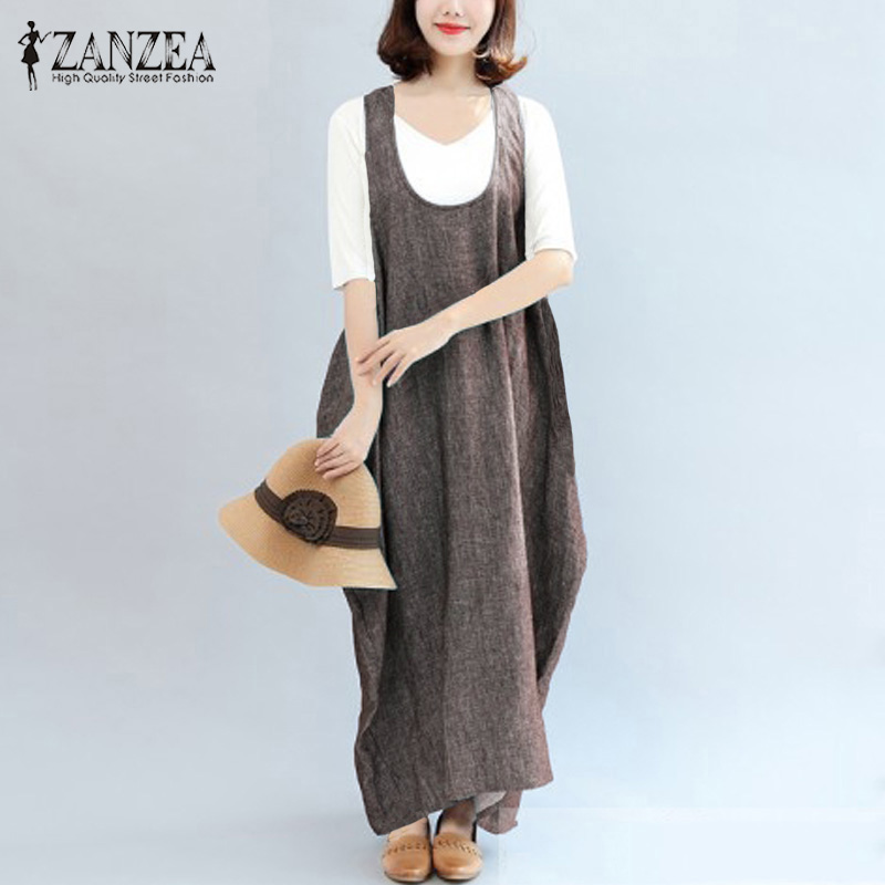 ZANZEA 2018 Plus Size Summer Retro Women O Neck Sleeveless Irregular Hem Baggy Kaftan Vestido Loose Maxi Long Dress Robe Female