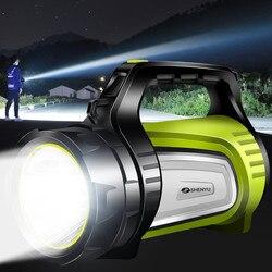 Linterna recargable USB portátil al aire libre Super brillante de 20 w, linterna de búsqueda, linterna multifunción