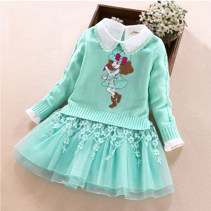 Girls Knit Sweaters Top+Princess Dress Suit Children Wear Coat Sweater Autumn Winter Kids Clothing Two-Piece Suit Long-Sleeve autumn and winter wear new suit children sweater hooded culottes two piece suit for girls