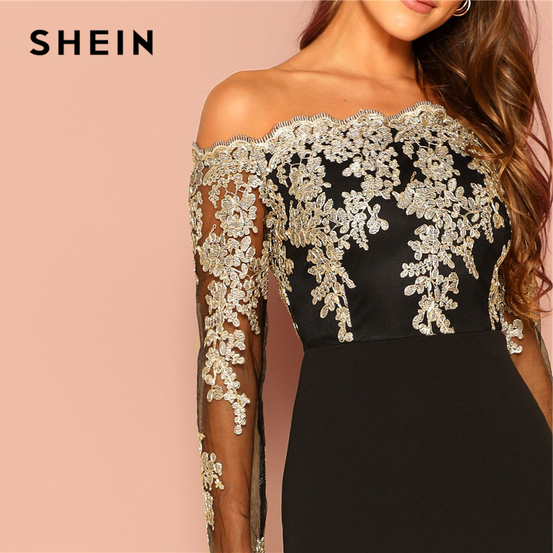 397257a78c3cc US $18.0 40% OFF SHEIN Black Sexy Off the Shoulder Embroidered Mesh Bodice  Bardot Bodycon Dress Women Long Sleeve Summer Going Out Party Dresses-in ...