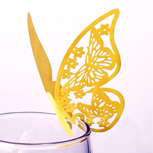 10pcs/lot Paper Laser Cut Butterfly Place Wine Glass Cup Card For DIY Birthday Wedding Festival Party Home Decoration