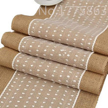 30*275cm Hessian Burlap Table Runner With Polka Dot Lace for Wedding, Party AA7899