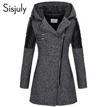 Sisjuly Women Color Block Winter Hooded Zipper Jacket Slim Winter Black Top Base Coat Casual Girls Blend Autumn Outerwear
