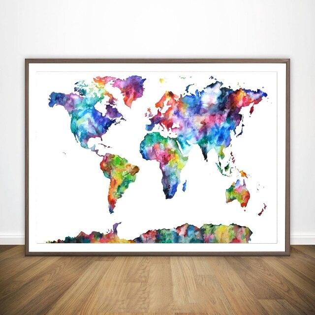 World Map Framed Wall Art.Watercolour World Map Movie Wall Art Paint Wall Decor Canvas Prints