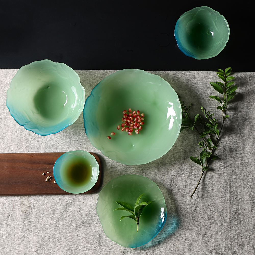 5 pcs green jade glass dinnerware sets for home gift  1 cup +2 bowls & Popular Glass Plates and Bowls Sets-Buy Cheap Glass Plates and ...