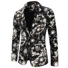 Mens Blazer Jacket Cotton Linen Floral printed Casual One Button Tuxedos Suits for Men