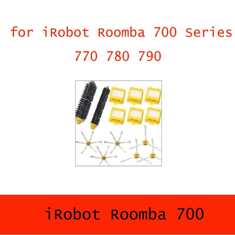 6 Hepa Filter + 1 set hair Brush kit + 3 set side brush for iRobot Roomba 700 Series 760 770 780 790 filtro hepa serie 700