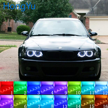 Headlight Multi-color RGB LED Angel Eyes Halo Ring Eye RF Remote Control for BMW E36 E38 E39 E46 projector 4x131mm Accessories image