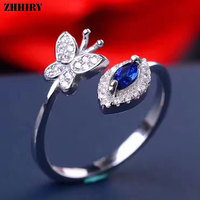 ZHHIRY Genuine Natural Sapphire Ruby Emerald 925 Sterling Silver Rings For Women Gemstone Butterfly Ring Real Fine Jewelry