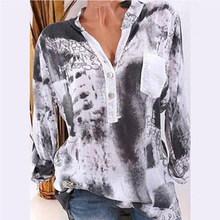Casual Women Pocket Printed Blouse V Neck Buttons Shirt Autumn Long Sleeve Blouses Tops Plus Size long sleeve pocket printed denim shirt