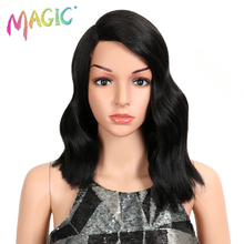Magic Short Body Wave Heat Resistant Wigs Synthetic Lace Front Wig For Black Women 14