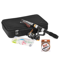 Fishing Rod and Reel Combo Telescopic Fishing Rod Spinning Reel Set Fishing Line Lures Hooks with Portable Carry Bag|Rod Combo|   -