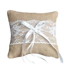 Boda anillo almohadilla encaje de arpillera vintage decoración para fiesta nupcial ceremonia bolsillo TB venta