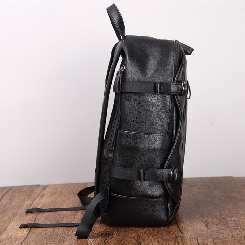 Simple Patchwork Large Capacity Mens Leather Backpack For Travel Casual Men Daypacks Leather Travle Backpack Mochila Waterproof #5