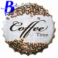 40cm Coffee Time Chic Round Vintage Metal Signs Bar Coffee Shop Wall Decor Beer Bottle Cap