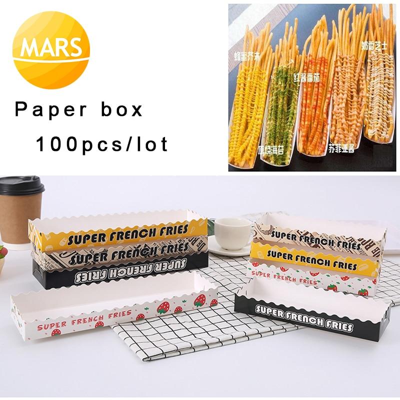 100 stks/partij Wegwerp Papier Doos voor TaiWan Super Lange 30cm Frieten/Footlong Aardappelpuree Gebakken Chips Verpakking doos-in Wafelijzers van Huishoudelijk Apparatuur op  Groep 1