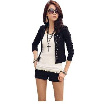 2018 Autumn Office Women Black Suit Jacket Fashion Lady Rhinestone Rivet Puff Coat Long Sleeve Thin Short Slim Jackets jeans con blazer mujer