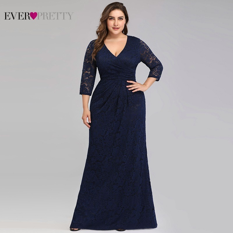 Plus Size Lace Mermaid Long   Prom     Dresses   2019 Ever Pretty EZ07682NB V-Neck 3/4 Sleeve Elegant Women Party Gowns Vestidos De Gala
