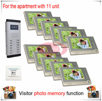 Eleven 11 Units Apartment Building Color Video Door Phone Intercom Visitor Photo Memory Also Support SD